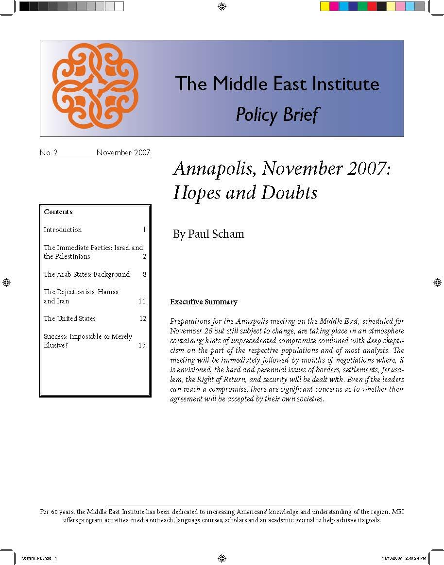 Annapolis, November 2007: Hopes and Doubts