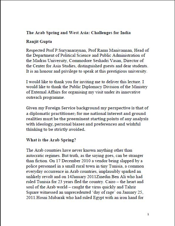 The Arab Spring and West Asia: Challenges for India